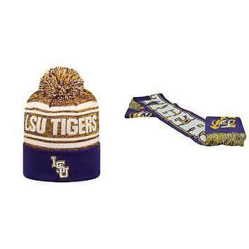 Licensed NCAA LSU Tigers Spirit Scarf And Driven Beanie Hat 2 Pack 94291 KO_19_1