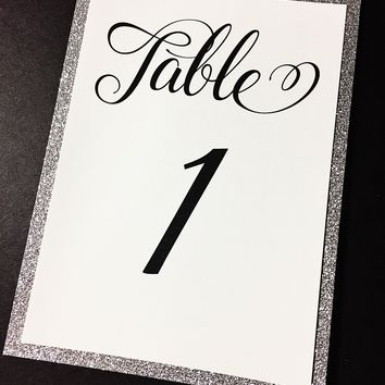 Wedding Glitter Table Numbers Set of 10 - Gold Glitter Silver Glitter