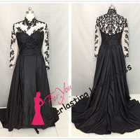 See Through O-neck Applique Lace With Crystals A-line Prom Dresses Long Sleeves Black Taffeta Evening Gowns Wedding Party Dress