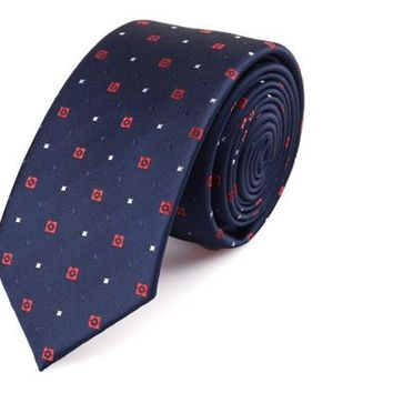 Royal Blue Skinny Tie with Red and White Dots