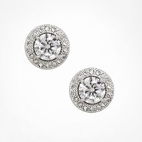 CUBIC ZIRCONIA PAVE HALO STUD EARRINGS