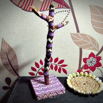 Boho Tree Jewelry Holder - Aztec Inspired -  Bohemian Decor - Wooden Jewelry Stand - Hippie Home Decor