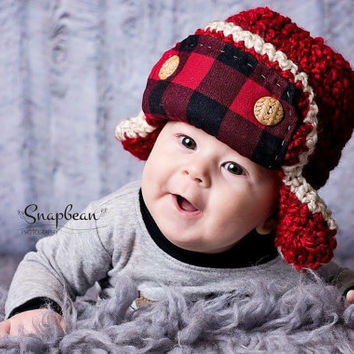 Flannel Trapper Hat, Baby Lumberjack Hat, Flannel Baby Hat, Baby Trapper Hat, Baby Hat, Newborn Photos, Photo Prop, Photography Prop