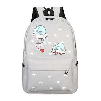 Elephant Pattern Funny Canvas Backpack Students School Bag For Women Girl Rucksack Mochila Escolar Women Backpacks 443