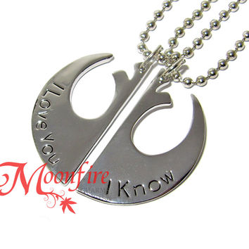 STAR WARS I Love You I Know Rebel Alliance Couple Necklace