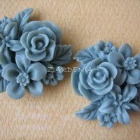2PCS - Mixed Bouquet Cabochons - 25mm - Slate - New Arrival - Cabochons by ZARDENIA