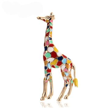 MloveAcc Fashion Colorful Giraffe Brooch Vintage Enamel Jewelry Animal Designer Brooches for Women