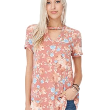 Collared neck floral top-rose