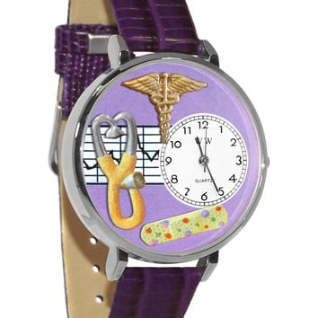 Whimsical Watches Healthcare Nurse Gift Accessories 2 Purple Watch in Silver (Unisex)