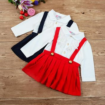 2017 School Style Baby Clothing Little Girls Long Sleeves Lace V-Neck False 2 Pieces Bracing Button Mini Dress for 3M-2T Kids