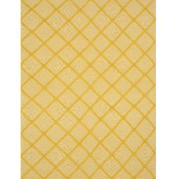 EORC Handmade Wool Yellow Transitional Trellis Xavier Rug