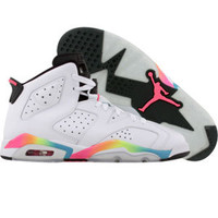 Air Jordan 6 Retro (white / pink flash / volt / mrn blue) Shoes 384665-103 | PickYourShoes.com