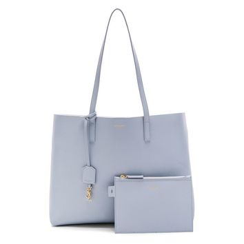 Saint Laurent YSL Women's Baby Blue Shopping Tote 394195