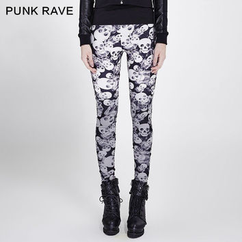 2016 PUNK RAVE STEAMPUNK GOTHIC STYLE PARTY SKULL SEXY BLACK COFFEE STRETCHY WOMEN TOP PANT