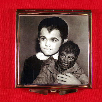 Eerie Compact Mirror Eddie Munster with Werewolf Doll Lily Munster Frankenstein The Munsters Creepy Unique Vintage Retro Horror