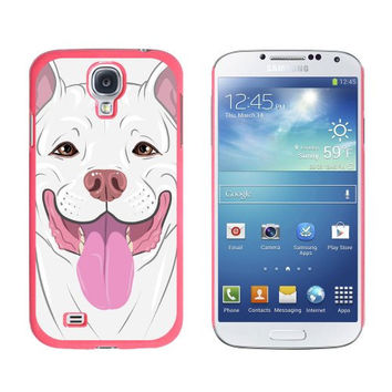 Graphics and More Pit Bull White American Staffordshire Terrier Snap-On Hard Protective Case for Samsung Galaxy S4 - Non-Retail Packaging - Pink