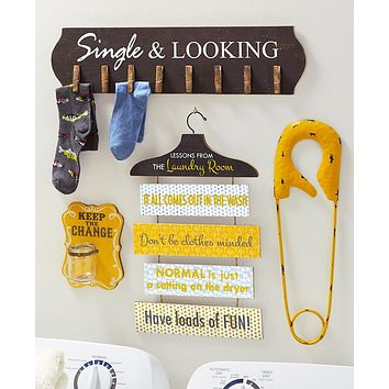 Unique Colorful Laundry Room Wall Sign Home Decor Gift Set, Sorting,Lost Socks,Loose Change