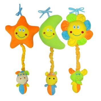 Baby Infant Cartoon Soft Rattles Bed Crib Stroller Music Hanging Bell Toy Stars Moon Sun Shapes Kids Stuffed Doll Rattle Toys