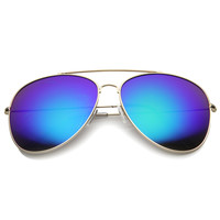 Large Retro Mirror Lens Full Metal Aviator Sunglasses 9876