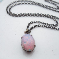 Opal Necklace Fire Opal Necklace Pink Opal Jewelry in Antique Brass Wedding - Bridal - Bridesmaids