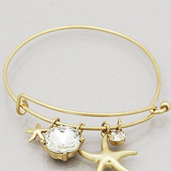 Womens Jewelry, Starfish Square Jewel Hook Bangle Bracelets Color : Washed Gold-clear Size : Diameter:2.25inch