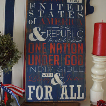 "Distressed Wood Word Sign Salvaged Vintage Architectural Feel The Pledge of Allegiance Patriotic 4th of July 11""x22"""