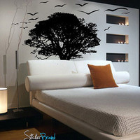 Vinyl Wall Decal Sticker TREE Silhouette with Flying Birds #239