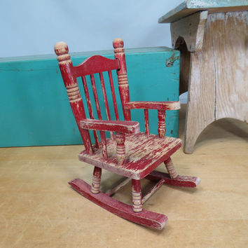 Doll Wooden Toy Rocking Chair Vintage Rustic Shabby Red Paint Teddy Bear