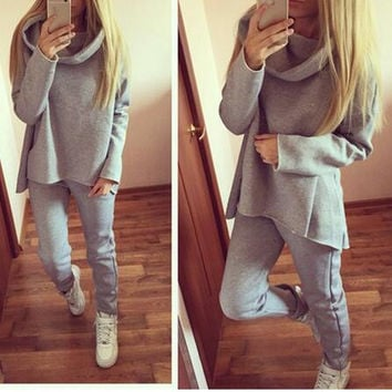 2 Pieces Sets Womens Hoodie Tracksuit Irregular Sweatshirt Hooded Sport Wear Sportsuits Casual Chandal Mujer Autumn Suit  M0456