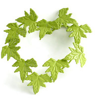 Chartreuse Lime Green Metal Ivy Heart, Chabby Chic Decor, Leaf Sculpture