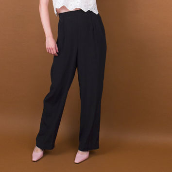 black high waisted trouser pants / pleated work slacks / jet black pants / straight wide leg trouser pants / vintage 80s minimalist trousers