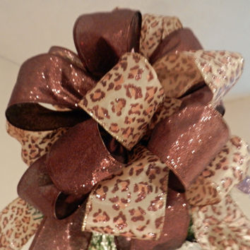 Large Christmas Tree topper bow made with a  Cheetah print with glitter  ribbon and brown glitter ribbon and 12 ornament bows