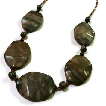 Marble Beaded Necklace, fall color jewelry, green brown marble necklace, statement necklace, copper toggle clasp OOAK,marble beaded necklace