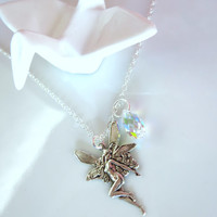 Silver Fairy and Swarovski Crystal Sterling Silver Charm Necklace