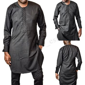 Men's African Long Sleeve Shirts Midi Robe Clothing O Neck Dashiki Coat Blouse