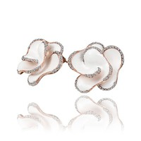 18K Rose Gold Plated Crystal Accent White Enamel 3D Rose Flower Stud Earrings