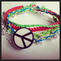 Anklet- Layered Neon Hemp Cord Anklet with Gypsy Bells and Peace Charm