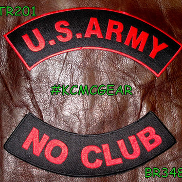 U.S. Army No Club Embroidered Patches Red & Black Military Patch Set for Jackets