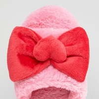 Hello Kitty x ASOS DESIGN fluffy bow slipper at asos.com