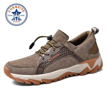 Sale Genuine Leather Hiking Shoes Autumn Winter Hunting Outdoor Warm Trekking Boots Classic Climbing Mens Sneakers Men Walking