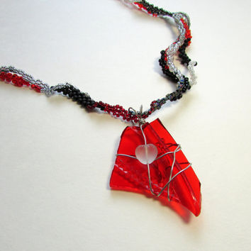 Freeform Peyote Necklace - Beaded Freeform Necklace - Taillight Pendant - Red Black Silver Necklace