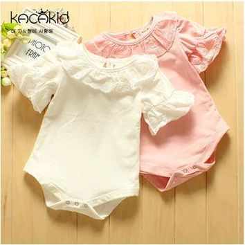 baby girls clothes 2017 cute Infant clothing baby romper whirt pink lace one piece suit Jumpsuit newborn baby girl clothes