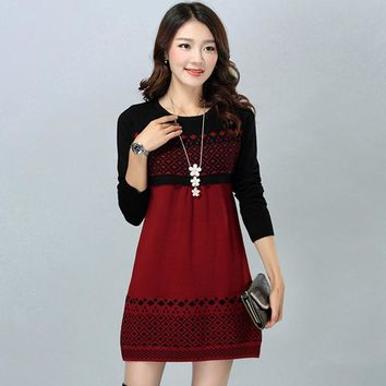 The new spring and autumn and winter Miss Han Ban mother dress bottoming knit sweater hedging sweater dress and long sections