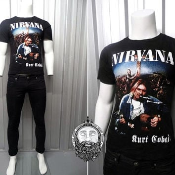 Vintage 90s Nirvana Kurt Cobain T Shirt 90s Grunge Official Merchandise Band Shirt Rock N Roll Tour Shirt Nirvana Shirt Grunge Clothing