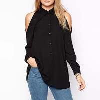 Shoulder Cutout Long Sleeve Pleated Blouse