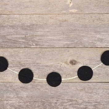 Handmade Felt & Glitter Dot Garland in Eclipse Black - 5 ft