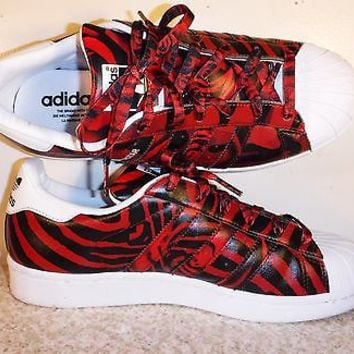 Adidas Originals Superstar AF5581 White Black Red Camo Rose Print Women Shoes 8
