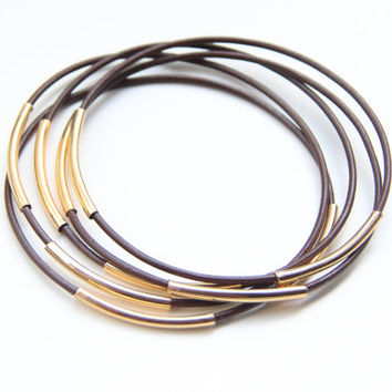 SPRING SALE - 20% OFF! Set of 5 brown leather Bangle Bracelets with gold bars - 24k gold plated