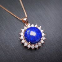 Lapis Lazuli Necklace - Rose Gold Filled Natural Lapis Lazuli Sunflower Pendant