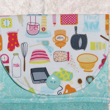 Handmade Hanging Hand Towel • Hanging Bath Kitchen Towel • Hanging Dish Towel • Vintage Pyrex & Fire King Dishes • Turquoise • Retro Tools
